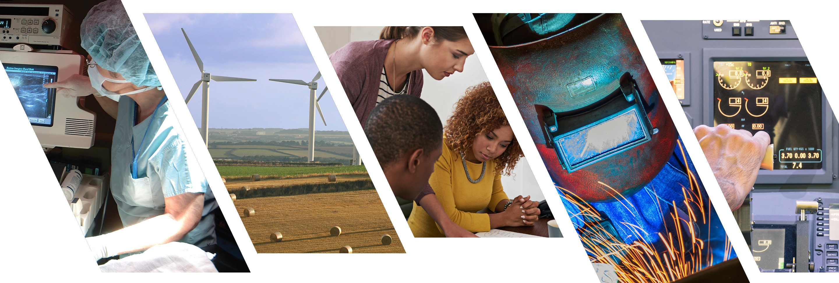 Collage image. From left to right: a jet engine, windmills, people at a desk, a welder, and a pilot.
