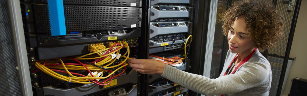 Woman with Technology Server